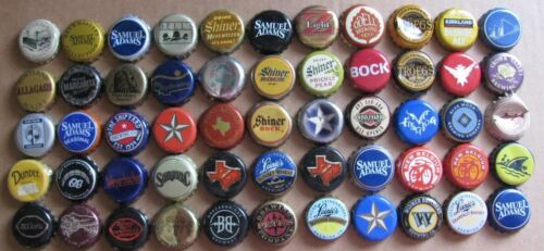 55 DIFF MIXED MOST DISCONTINUED MICRO CRAFT BEER BOTTLE CAPS LOT# 1