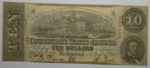 1863 Confederate States of America $10 Banknote T-59 Fine