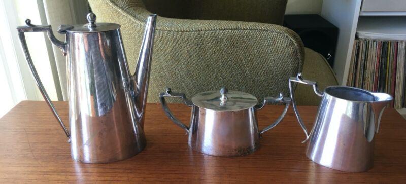 Vintage Van Bergh Silverplate 3-piece Coffee/Tea Set--Art Deco. POOR CONDITION.