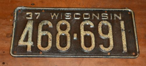 Rare 1937 WISCONSIN License Plate-Nice Condition-Low Price