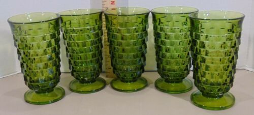 5 Vintage Whitehall Green Glass Colony Cube 12 Oz Tumblers