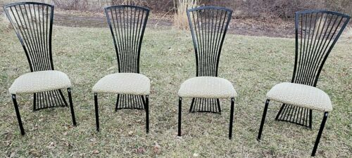 6 DINING room CHAIRS metal -  Italian style PIETRO CONSTANTINI ? MODERN fan back