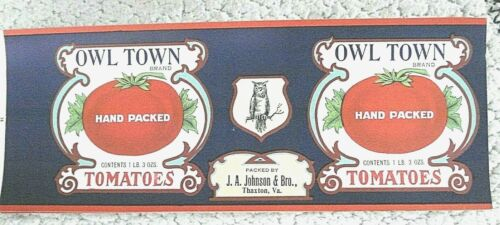 Antique Unused Stone Litho. OWL TOWN BRAND Hand Packed Tomatoes Canning Label