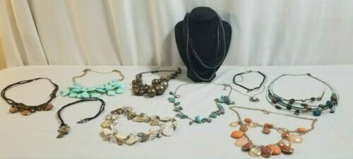 10 Piece NECKLACES Costume Jewelry Lot GREEN STATEMENT, Orange, Shimmery # 16