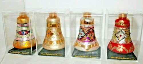 Set of 4 glass Christmas Ornaments Hand Decorated Collectable Limited Series