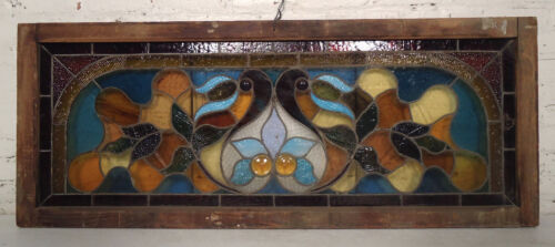 Large Vintage Stained Glass Panel (00449)NS
