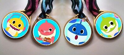 - 12 BABY SHARK DO MEDALS NECKLACES, birthday party favors DOLL EGG MYSTERY