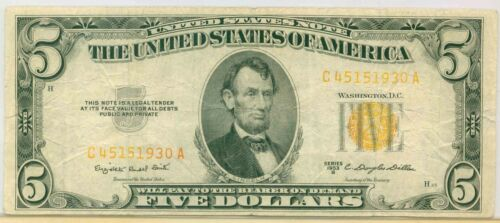 $5 1953 B United States Note Five Dollars Yellow ( Red ? ) Seal Circulated Note