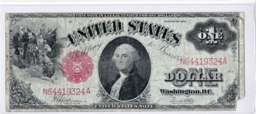1917 $1 Legal Tender Large Sawhorse Horse Blanket Red Seal FR39 Speelman / White