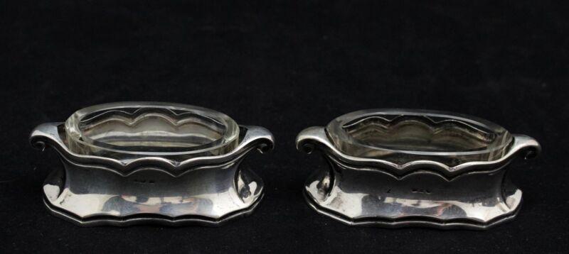 pair of Art Nouveau, Jugendstil Silver Salts, foreign silvermark & 800