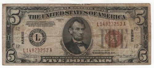 1934 $5 Federal Reserve Note Hawaii Overprint World War II Circulated Fine