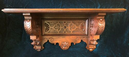 Large & Superb Hand Carved Renaissance Revival Victorian Clock Wall Shelf c.1870