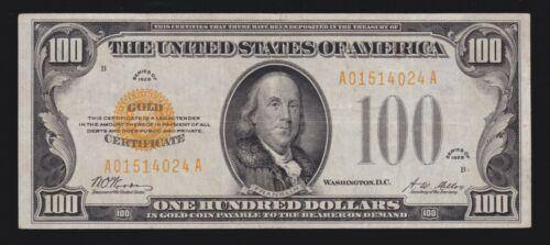 US 1928 $100 Gold Certificate FR 2405 VF (-024)