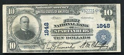 1902  10 First National Bank Of Spartanburg  Sc National Currency Ch   1848  E