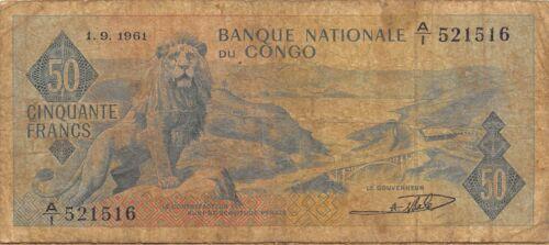 Congo  50  Francs  1.9.1961  P 5a  Series  A/1   Circulated Banknote