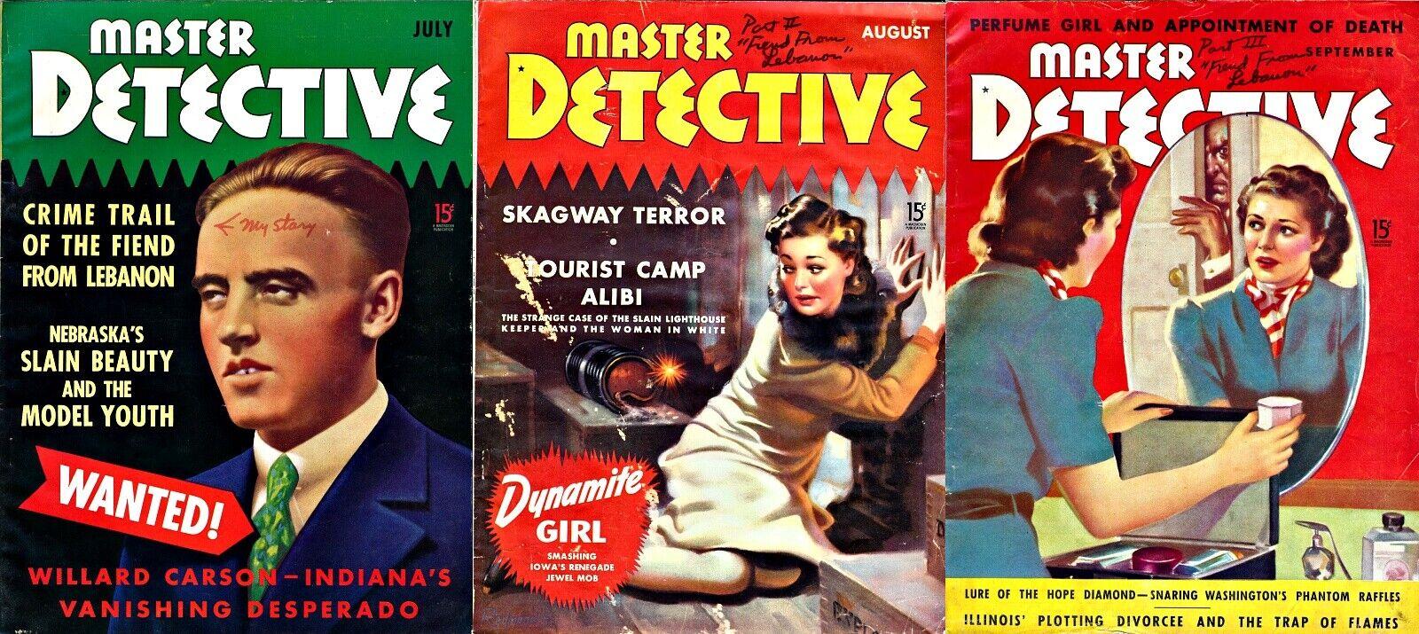 MASTER DETECTIVE 3 Vtg Crime Magazines VIRGIL E. LAMARRE 1939 Author Copy 126980 - $125.00