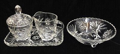 Creamer & Sugar Bowl w/ Tray & Bowl Clear Glass Starburst Flower Vintage Set 4 Flower Sugar Bowl