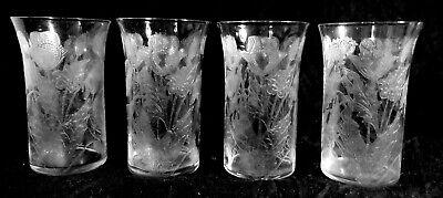 4 ABP Engraved CUT GLASS CRYSTAL Locke Art Dorflinger Juice Tumblers Poppies