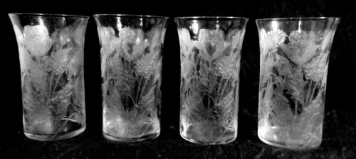 4 ABP Engraved CUT GLASS CRYSTAL Locke Art Dorflinger Juice Tumblers Poppies