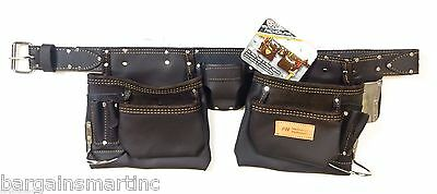 McGuire-Nicholas 10-Pocket Full Grain Leather Nail Tool Apron Carpenter Belt Rig