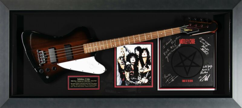 Motley Crue Band Signed display with guitar
