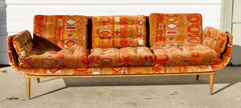 Armstrong Co. Gondola Couch with Jack Lenor Larsen Caravan fabric Mid Century