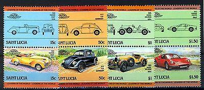 St Lucia 1985, Automobile/car III set, 4 pairs, 8v VF MNH, Mi 740-747 cat 4€