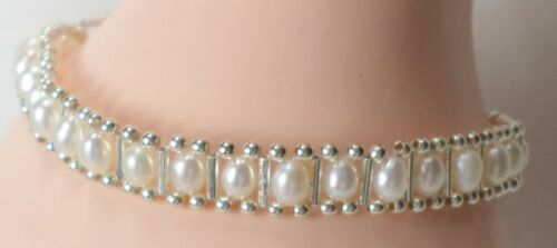 """Vintage Sterling Silver 925 White Rice Pearl Beads Pretty Dainty Bracelet 7"""" New"""