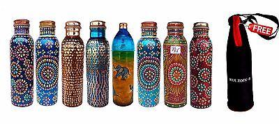 Cobre Agua Almacenaje Botella Conjunto De 8 Nuevo Diseño 900ML Capacidad Un...