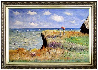 Framed Claude Monet Cliff Walk Pourville Repro Hand Painted Oil Painting 24x36in
