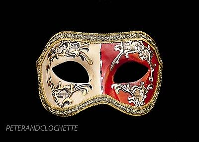 MASK VENICE COLOMBINE NIGHT AND DAY RED FOR COSTUME 803 V12B