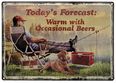 Novelty Rivers Edge Products Tin Sign Warm Occasional Beers, Size 12
