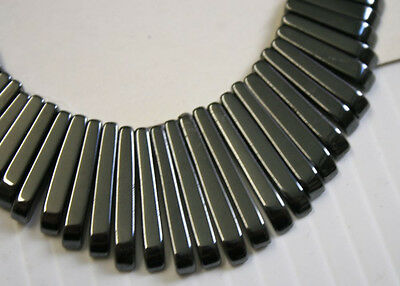 LOT OF NATURAL HAEMATITE 41 STICK 10-30MM ART DECO NECKLACE JEWELLERY MAKING N1C