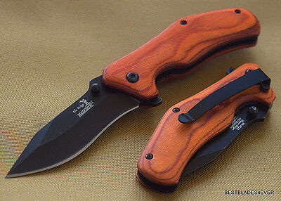 Elk Ridge Red Wood Handle Spring Assisted Knife W  Pocket Clip   Razor Sharp