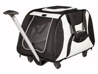 Trixie Nylon Cat or Small Dog Pet Trolley / Soft Crate Cage 34 x 43 x 67 cm, Black / Cream New