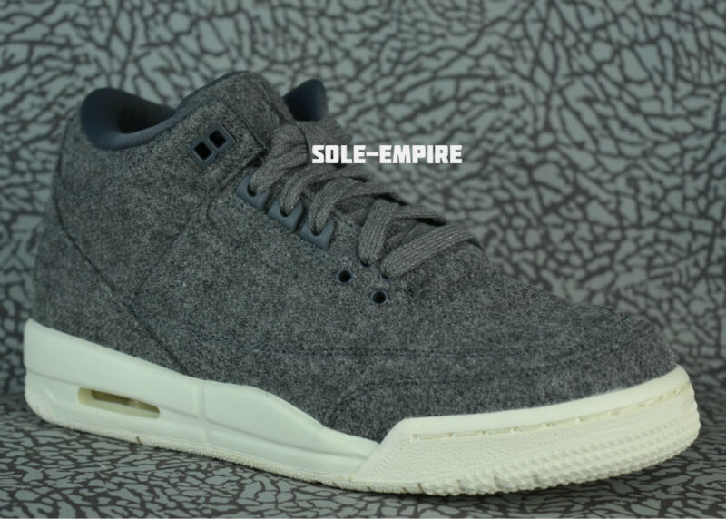 e560276887b2e8 Nike Air Jordan 3 Retro Wool BG 861427-004 GS Dark Grey Sail III NEW ...