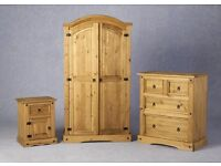 Solid pine bedroom set. Wardrobe, Drawers and bedside cabinet. Brand new, Free delivery