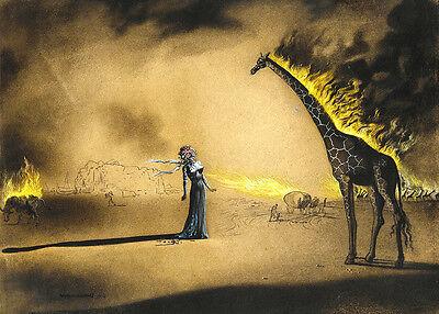Salvador Dali Burning giraffe reproduction giclee 16.5X12 canvas print poster ()