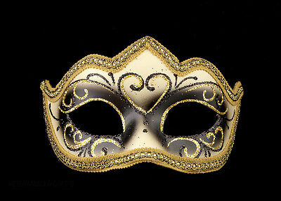 Mask Venetian Black Wolf Gold Colombine Tip Fabric Fat Quarter Venice 1197 V62