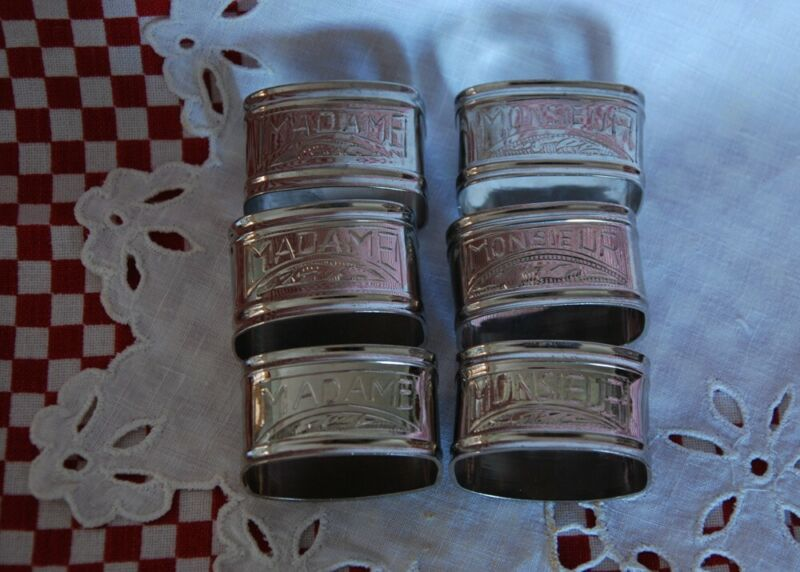 6 FRENCH SILVER METAL ENGRAVED NAPKIN RINGS ~ MONSIEUR and MADAME
