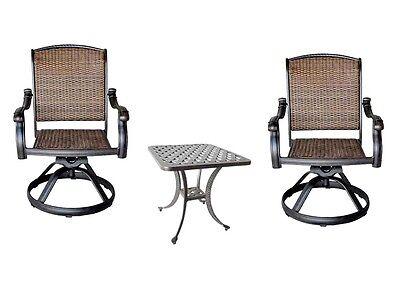 3pc bistro patio set 2 Santa Clara swivel rockers outdoor Nassau end table - Patio Bistro-set