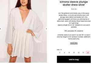 Size 16 Brand New Silver Kimono Sleeve Plunge Dress! $30 Northbridge Perth City Area Preview