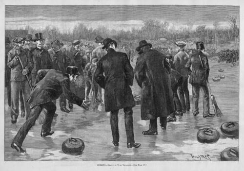 CURLING ROCK BROOM ICE RINK SPORTS 1886 HISTORY ANTIQUE OUTDOOR GAME OF CURLING