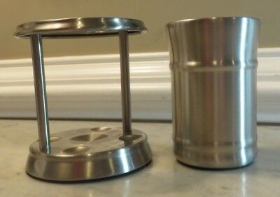 Bathroom Toothbrush Holder (Better Homes) & Cup (Canopy) Brushed Finish -