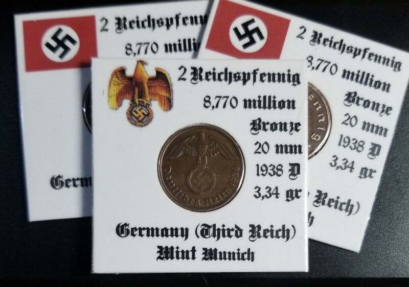 💰1938 A B D G  WWII GERMAN 2 REICHSPFENNIG THIRD REICH BRONZE NAZI GERMANY