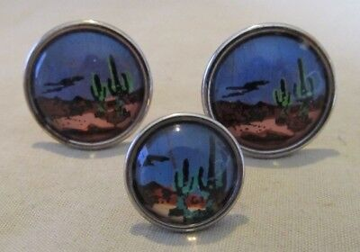 Mens Vintage DESSERT CACTUS SUNSET CUFFLINKS Butterfly Wings Costume Jewelry (Mens Butterfly Costume)