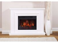 BRAND NEW ~ ELECTRIC WHITE SURROUND REMOTE CONTROL LED FLAME LOG FIRE FIREPLACE SUITE - STILL IN BOX