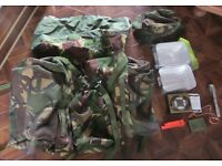 Army Cadet Bergen Rucksack and complete camping set. mess tins, hat, compass/whistle, stove