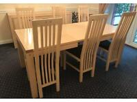 Extendable dining table with 6 chairs AND sideboard