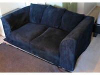 Two Seat Charcol Jumbo Cord Sofa Excellent Condition